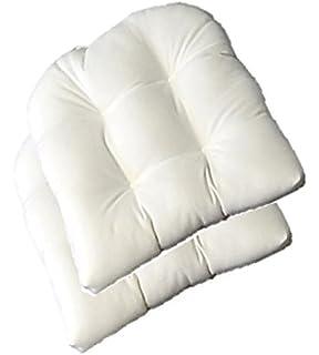 Set Of 2   Universal Tufted U Shape Cushions For Wicker Chair Seat    Sunbrella