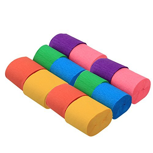 Exsart 12 Rolls Crepe Paper Streamers 6 Colors for Party Wedding Birthday Decoration, 1.96 Inch x 29.6 Feet