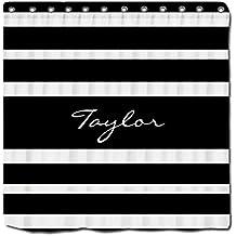 YYT Shower Curtain Black White Striped Monogram Name Custom Elegant Shower Curtain