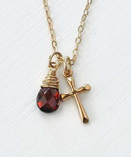 18 Inch Tiny Gold Cross Birthstone Necklace with January Birthstone Garnet - Christian Birthday Gifts for Teen Girls ()