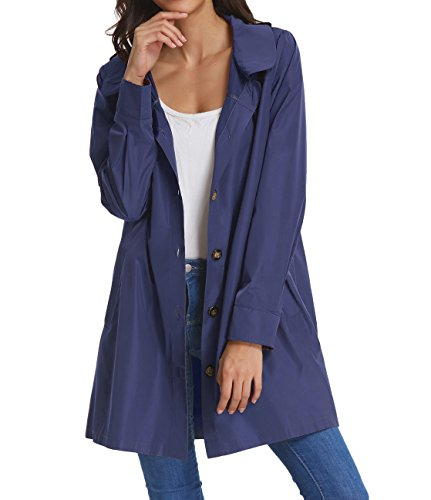 (Womens Lightweight Travel Trench Waterproof Raincoat Hoodie Windproof Hiking Coat Packable Rain Jacket KK822-2 S Navy Blue)