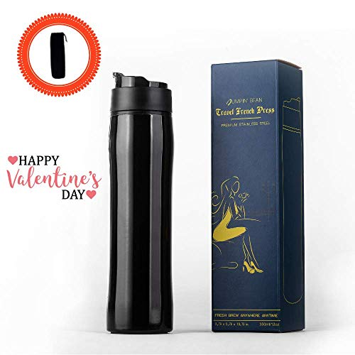 (Travel French Press Coffee Maker | Portable Coffee Press | Travel Coffee Tumbler | Iced Coffee | Tea Maker | Vacuum Insulated | Premium Stainless Steel BPA Free | Durable Easy-Cleaning | 12oz 350ml)