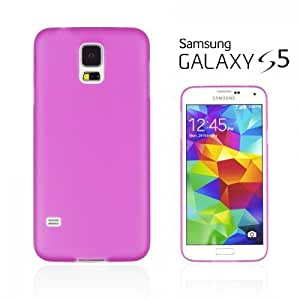 OnlineBestDigital - Ultra-Slim Colorful Transparent Case for Samsung Galaxy S5 - Hot Pink with 3 Screen Protectors