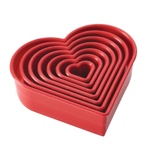 Cake Boss Decorating Tools 7-Piece Nylon Heart Fondant and Cookie Cutter Set, Red