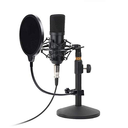 (USB Condenser Microphone Kit PC Computer Podcast Streaming Cardioid Mic Plug & Play With USB XLR/Pop Filter/Round Base Stand/Shock Mount for Computer YouTube Gaming Sound Recording)