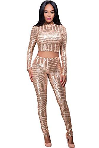 Femmes Paillettes dorées 2pièces Haut court pour femme Ensemble pantalon Combinaison Clubwear Vêtements Taille L UK 12–14EU 40–42