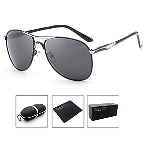 HDCRAFTER Polarized Aviators Metal Frame Sunglasses Black for Men