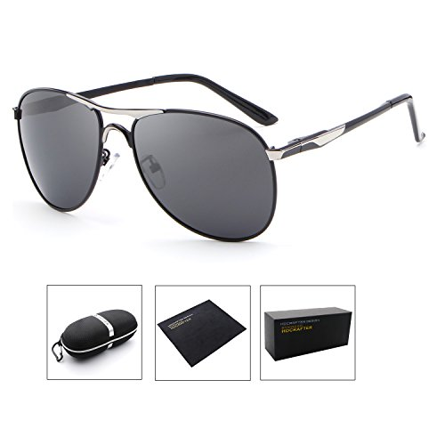 HDCRAFTER Polarized Aviators Metal Frame Sunglasses Black for - Sunglasses Hdcrafter