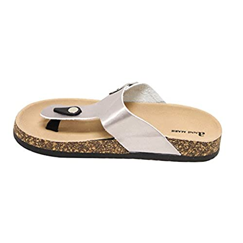 3cd201a025334 Anna Marie Glory-1 Women s thong toe metallic buckle decor T-strap  contoured footbed
