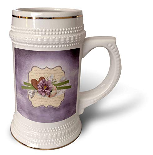 3dRose Beverly Turner Flora Design - Image of Wooden Heart, Ribbon, Purple and Yellow Flowers on Tag - 22oz Stein Mug (stn_304971_1)