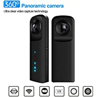 KAMRE 360 Degree Camera VR 30fbs HD Point and Shoot Digital Cameras 3D Panoramic Digital Video Wide Angle Fisheye Lens Free App for Iphone Android