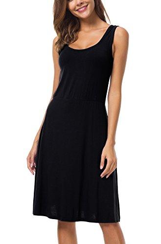 AUHEGN Women's Sleeveless Scoop Neck Midi Tank Top Swing Summer Beach Dress For Women (Small, Black) (Sleeveless Stretch Dress)