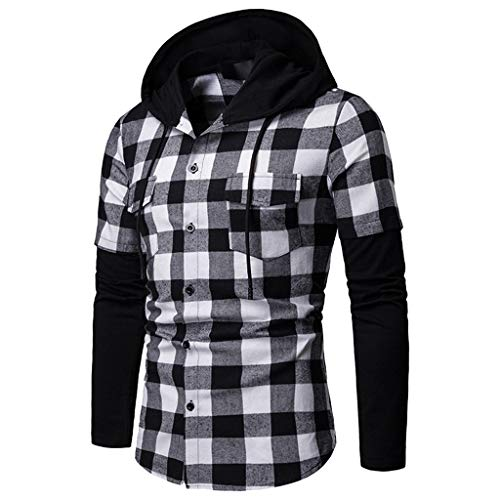 Allywit-Mens Shirts Men's Autumn Casual Hoodie Formal Plaid Solid Slim Fit Long Sleeve Dress Top Blouse Gray