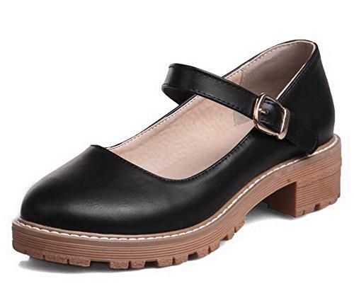 VogueZone009 Women's Pu Low-Heels Round-Toe Soild Pull-On Pumps-Shoes, Black, 34