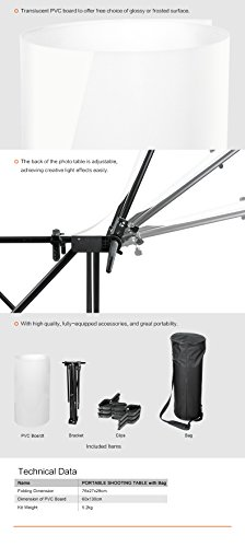 Neewer Foldable Portable Studio Photo Shooting Table with Aluminum Frame + 24x51''/ 60x130cm Glossy Frosted Surface Board Cover + Carrying Bag for Still Life Photography by Neewer