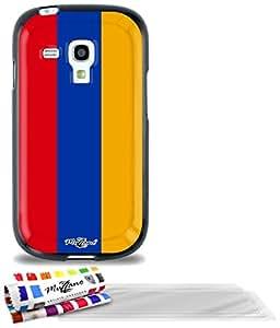 """Carcasa Flexible Ultra-Slim SAMSUNG GALAXY S3 MINI de exclusivo motivo [Armenia Bandera] [Negra] de MUZZANO  + 3 Pelliculas de Pantalla """"UltraClear"""" + ESTILETE y PAÑO MUZZANO REGALADOS - La Protección Antigolpes ULTIMA, ELEGANTE Y DURADERA para su SAMSUNG GALAXY S3 MINI"""