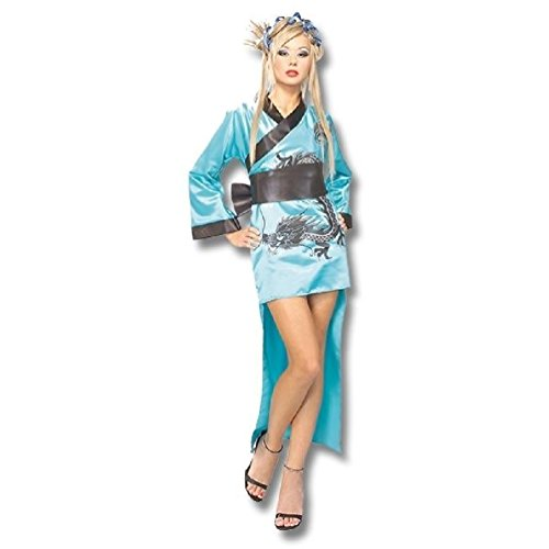 Dragon Geisha Halloween Costume (Sexy Dragon Lady Geisha Blue Halloween Costume For Adult Womens / Ladies)