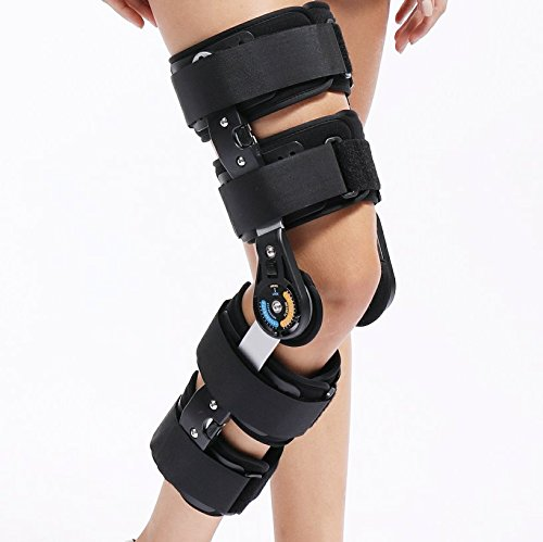 Universal Size Hinged ROM Knee Support Brace Orthosis for Knee Injury Recovery & Relieve Knee Burden by Rousu Medi