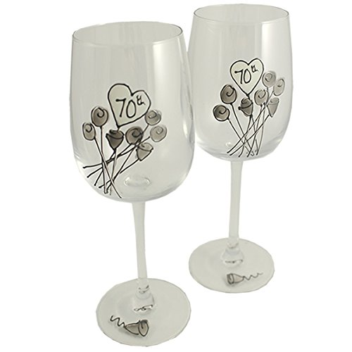 70th Wedding (Platinum) Anniversary Pair of Wine Glasses (Flower)