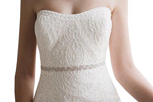 Style Rhinestone Belt (Thin rhinestones belt leaf style wedding sash bridesmaid sash evening dress sash (Silver))