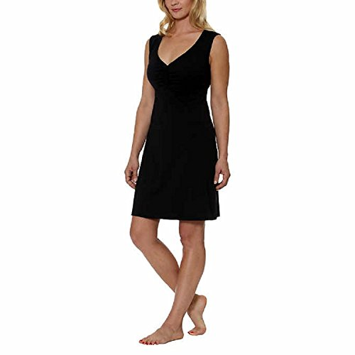 Built Bra In Dress (Gerry Women's v-Neck Solid Sleeveless Short Straight Dress, Black, Small)
