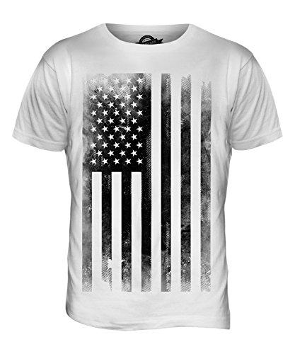 CandyMix Usa Sternenbanner Schwarzweiß Verblichen Flagge Herren T Shirt, Größe Medium, Farbe Weiß