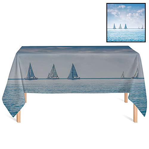 SATVSHOP Table Cover Kitchen Dinning Tabletop /55x55 Square,Ocean Sail Boats Sea Regatta Race Sports Panoramic View Seascape Summer Sky Photo Light Blue and White.for Wedding/Banquet/Restaurant.