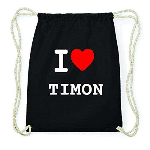 JOllify TIMON Hipster Turnbeutel Tasche Rucksack aus Baumwolle - Farbe: schwarz Design: I love- Ich liebe
