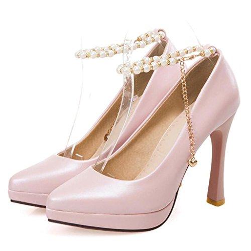 e27b5399 W&LM Sra Tacones altos Cadena de perlas Rebordeado Tacones altos Boca rasa  Zapatos individuales Plataforma a