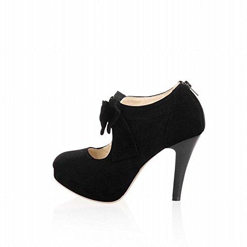 Enmayer Damesmode Knopen High Heels Platform Pumps Mary Janes Black