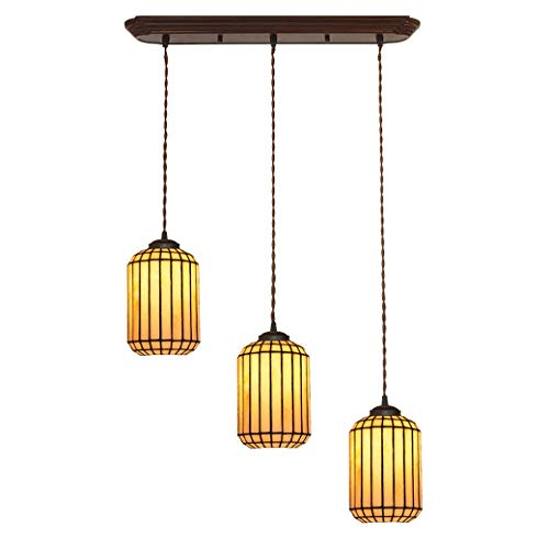 Tiffany Style Chandelier-3 Light, Bedroom Dining Room Pendant Lamp Fittings, Handmade Glass Light Shade Ceiling Lamp, E27/E26, 90-260V ()