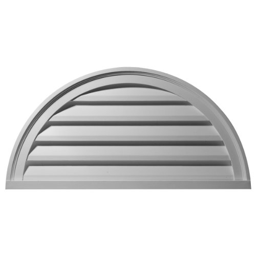 Ekena Millwork GVHR40D 40-Inch W x 20-Inch H x 2 1/4-Inch P Half Round Gable Vent Louver, - Gable Round Louver Vent