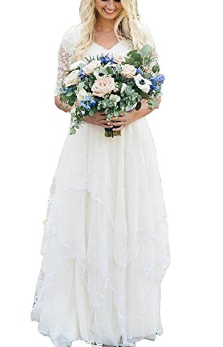PearlBridal Women's Modest Lace Bohemian Wedding Dresses 1/2 Sleeves Boho Chiffon Wedding Gowns