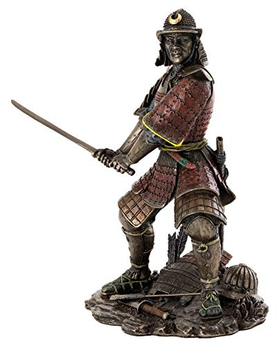 Top Collection Medieval Japanese Samurai Statue – General Minamoto Warrior Sculpture in Premium Cold Cast Bronze – 8.25-Inch Collectible Figurine