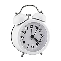 PiLife 3 Mini Non-ticking Vintage Classic Bedside/Table Anolog Alarm Clock with Backlight for Kids,Teens&Adults, Battery Operated Travel Clock, Round Twin Bell Loud Alarm Clock(White)