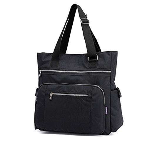 - Multi Pocket Nylon Totes Handbag Large Shoulder Bag Travel Purse Bags For Women (X-Black)