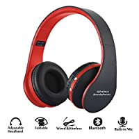 Wireless Foldable Headphones, Bluetooth Wireless/Wired Over-ear Headset Rechargeable Earphones with Built-in Mic 3.5mm Audio Jack MIC for iPhone X 8/7/6 & Desktop, PC by ZSW Tech