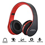 Foldable Wireless/Wired Headphones, Hyfanda Bluetooth Over-ear Headset Rechargeable Earphones with Built-in Microphone 3.5mm Audio Jack MIC for Smart Phones & Desktop, PC – Black Red