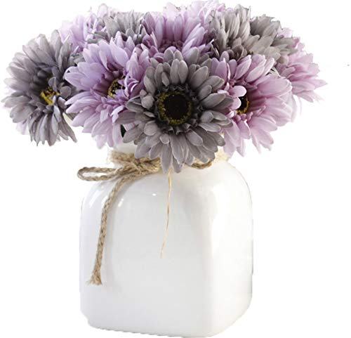 LNHOMY Daisy Artificial Flowers 15 Stems Silk Daisies Flower for Wedding Bouquet Living Room Office Party DIY Home Decoration, Cream and Green (Purple Grey)