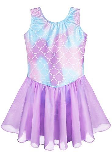 Purple Leotards Dress for Girls 6t 7t Gymnastics Purple Mermaid Dance Costume (Mermaid Purple, 130(6-7 years old))