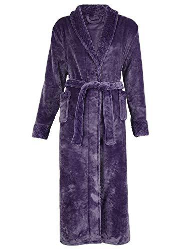 Pigiama V a Lungo Notte Unisex Donna Cintura Scollo Vestaglia Kimono Viola H da Camicia HIAMIGOS Uomo Accappatoio con Spugna 17gqff