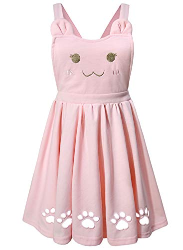 (Doballa Women's Love Heart Cat Embroidered Cute Paw Hollow Out Lolita Suspender Skirt (M, Pink))