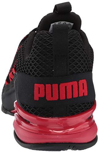 PUMA Men's Axelion Sneaker, Black-High Risk Red, 10.5 M US