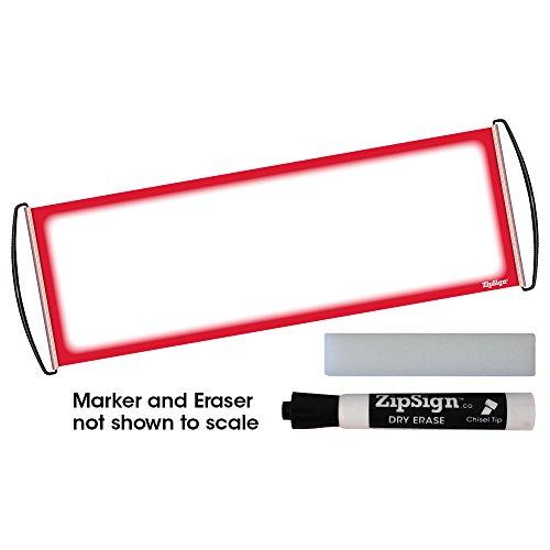 Red Set - ZipSign Dry Erase Banner Set Includes: Banner, Black Dry Erase Marker and Eraser - Rolls Itself Up, Unrolls to 9.5