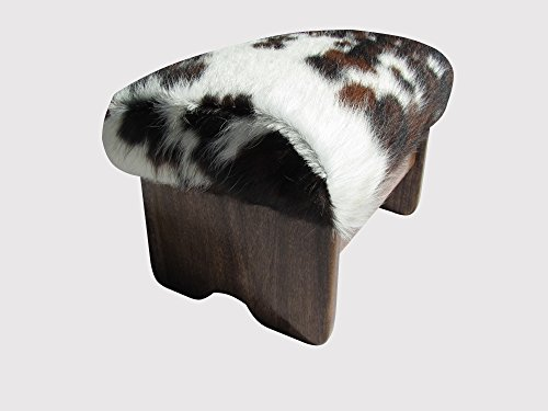 """Price comparison product image Padded Foot Stool - Cowhide (Made in the USA) (9"""" Brown & White - Walnut Stain)"""