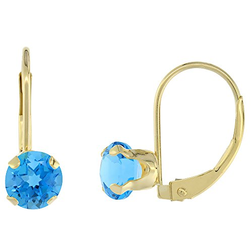 - 10k Yellow Gold Natural Swiss Blue Topaz Leverback Earrings 6mm Round 1.5 ct, 9/16 inch