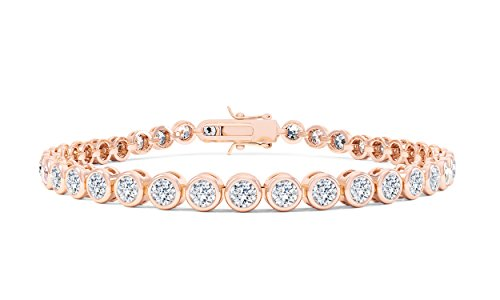 Bracelet de tennis avec diamants 18 carats en vermeille couleur or rose 17,78 cm