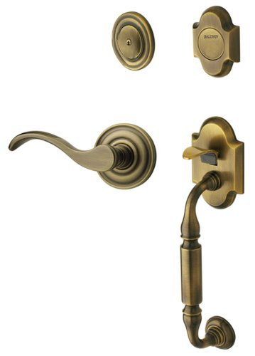 Baldwin 85305.050.RFD Canterbury Sectional Trim Right Hand Dummy Handleset with Wave Lever, Satin Brass and Black