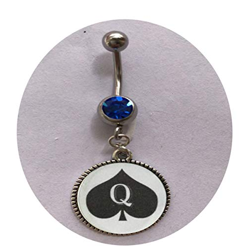 Queen of Spades Necklace Pendant Jewelry Charm Hotwife BBC Belly Ring - Religious Jewelry