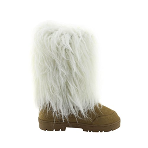 Cape Robbin Women Puntige Neusbont Stiletto Boot - Chic, Winter, Cosy Mini-65 Tan-tibet-01